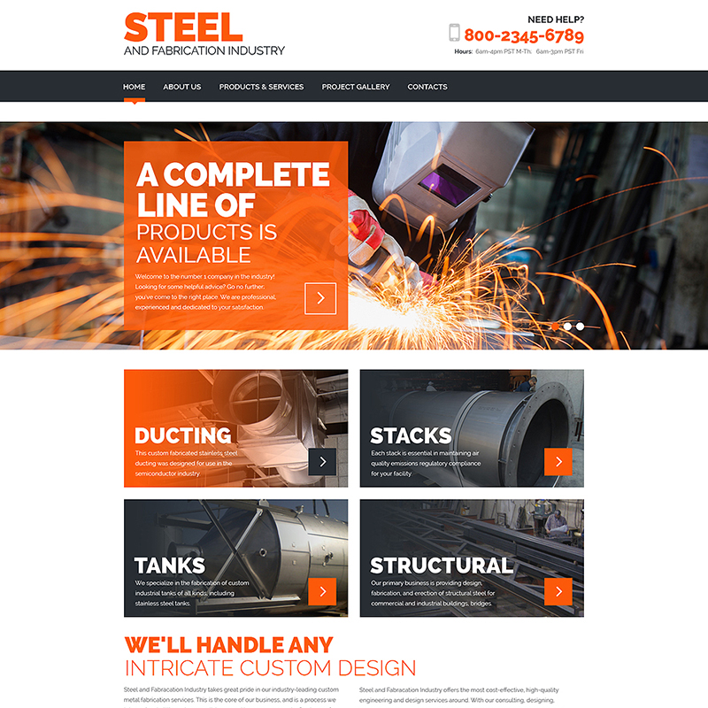 Steel and Fabrication Industry Responsive HTML Template Website Template