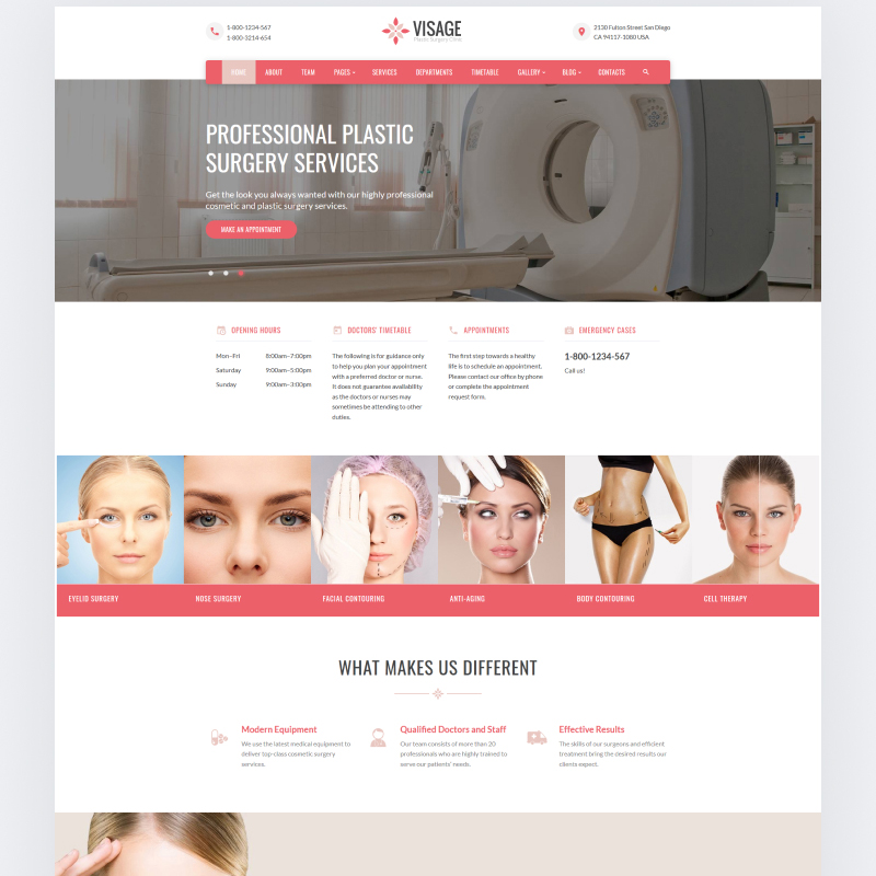 Visage - Plastic Surgery Clinic Website Template Website Template