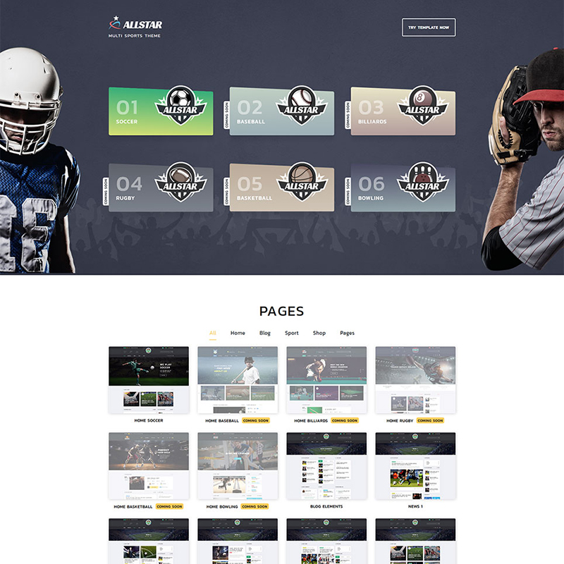 ALLSTAR - Sport Multipurpose Bootstrap 4 Website Template Website Template