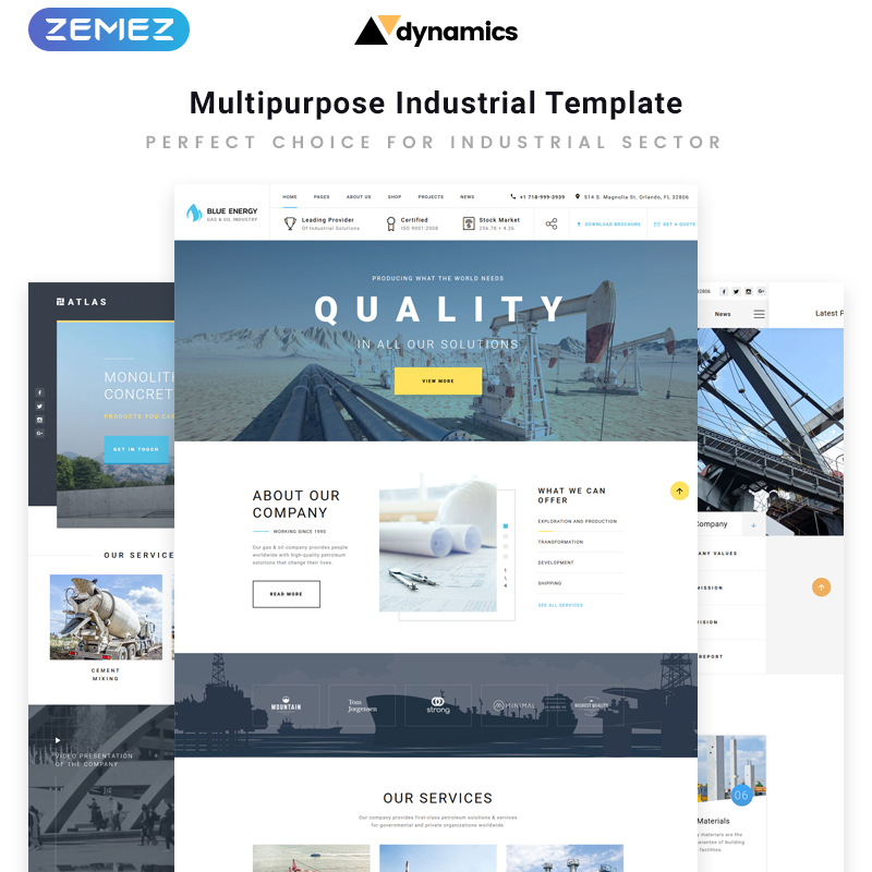 Dynamics - Industrial Multipage HTML5 Website Template Website Template