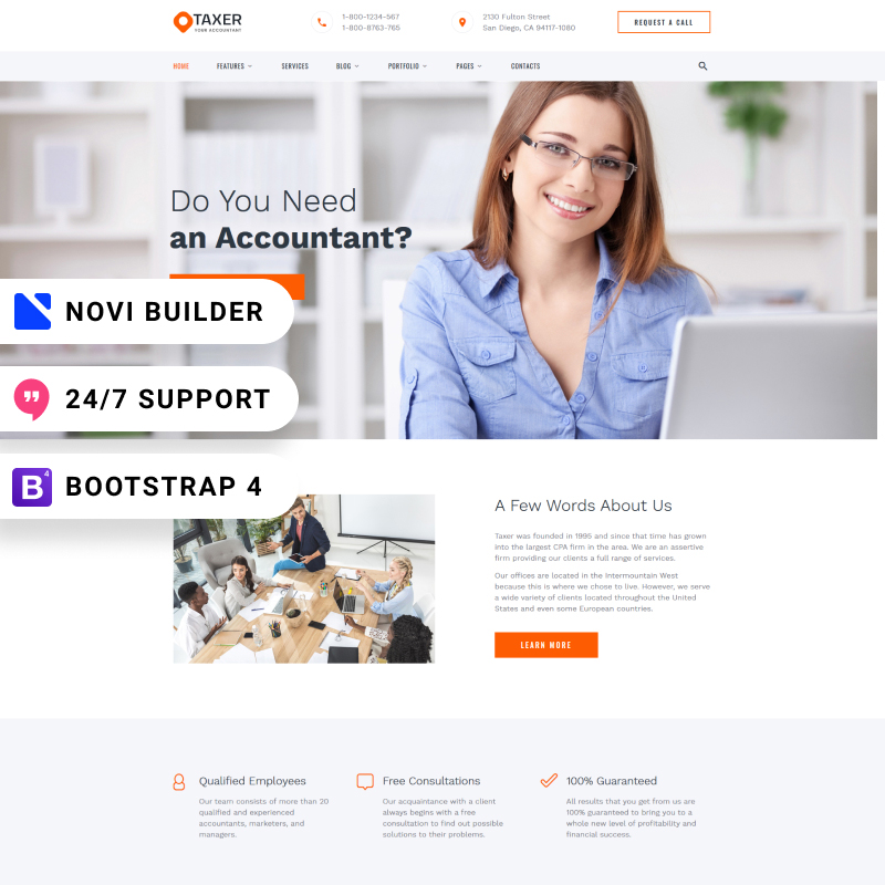 Taxer - Novi Builder Accounting Company Website Template Website Template