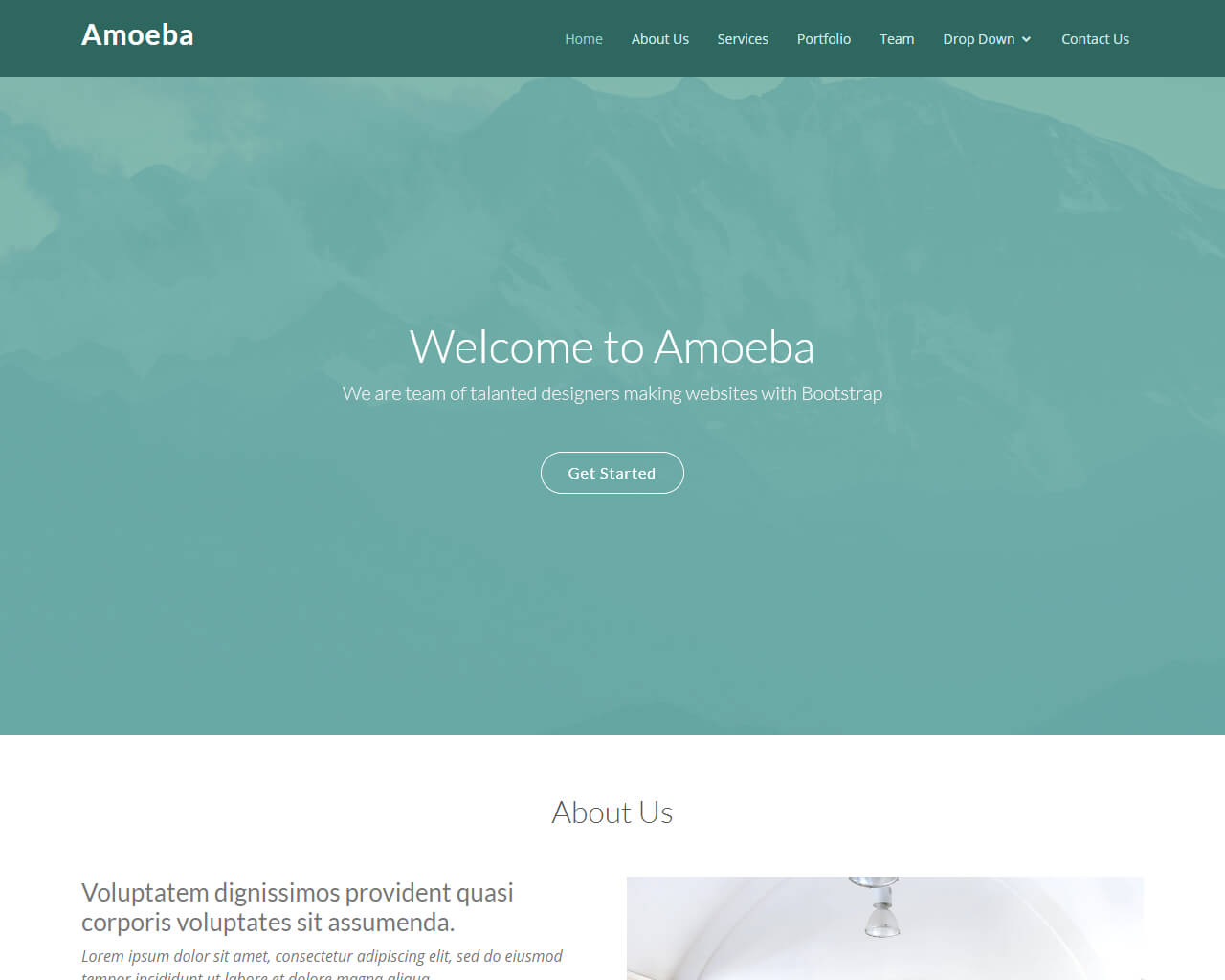 Free one page bootstrap template - Amoeba