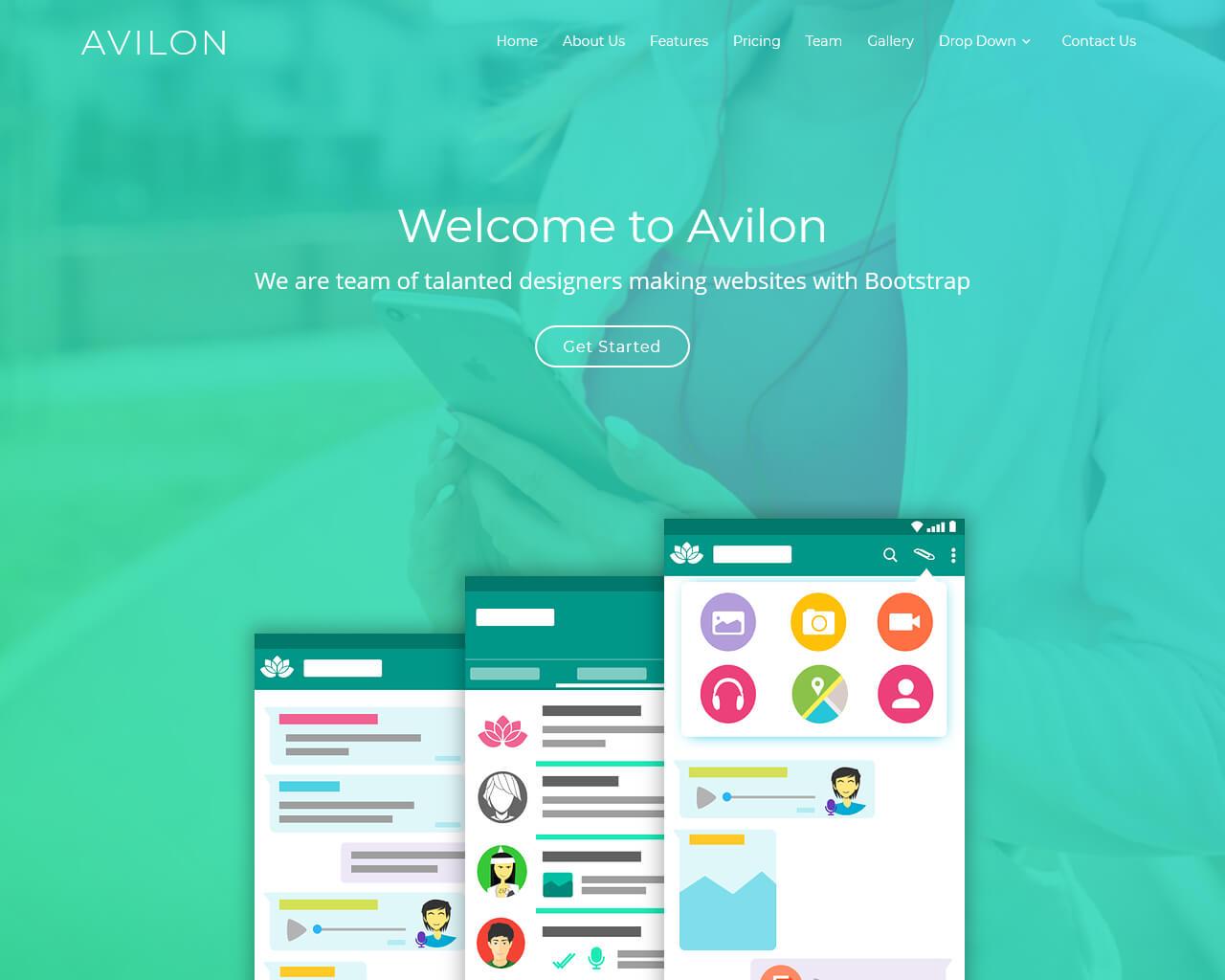 Avilon - Free Bootstrap Landing Page Theme