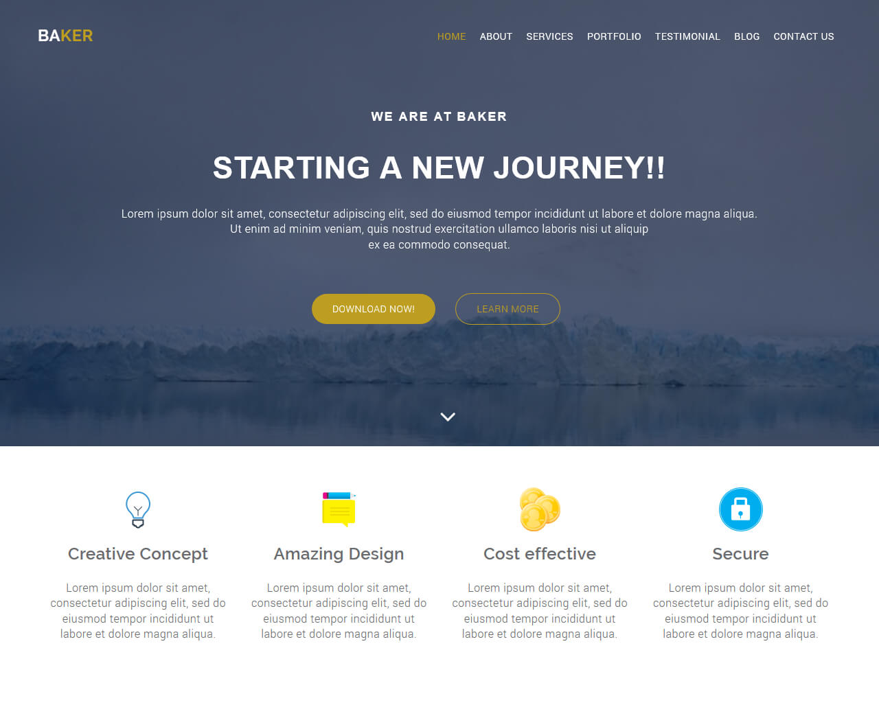 Baker – Free Onepage Bootstrap Theme