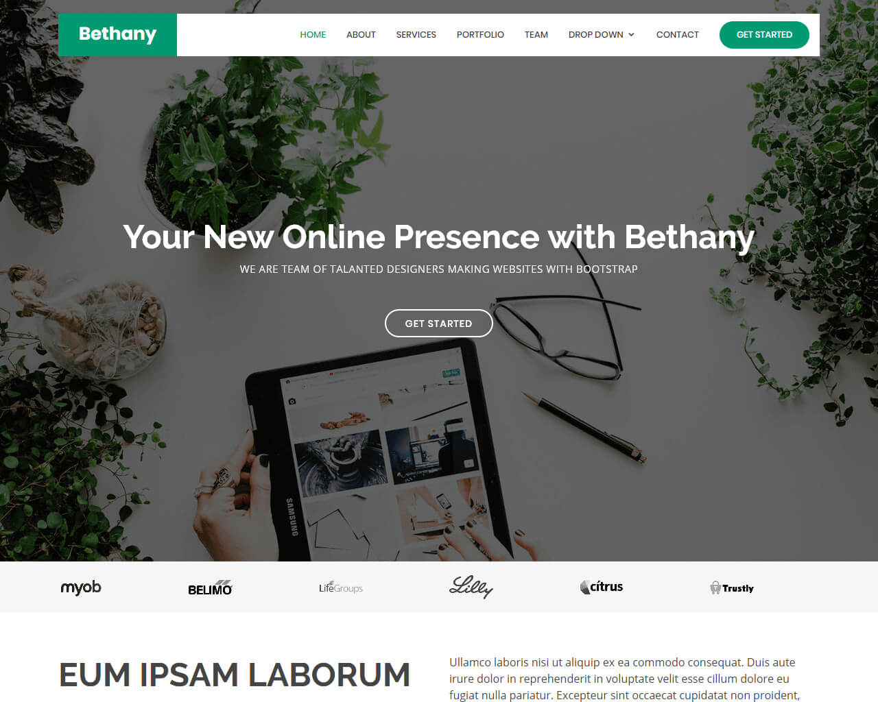 Bethany - Free Onepage Bootstrap Theme