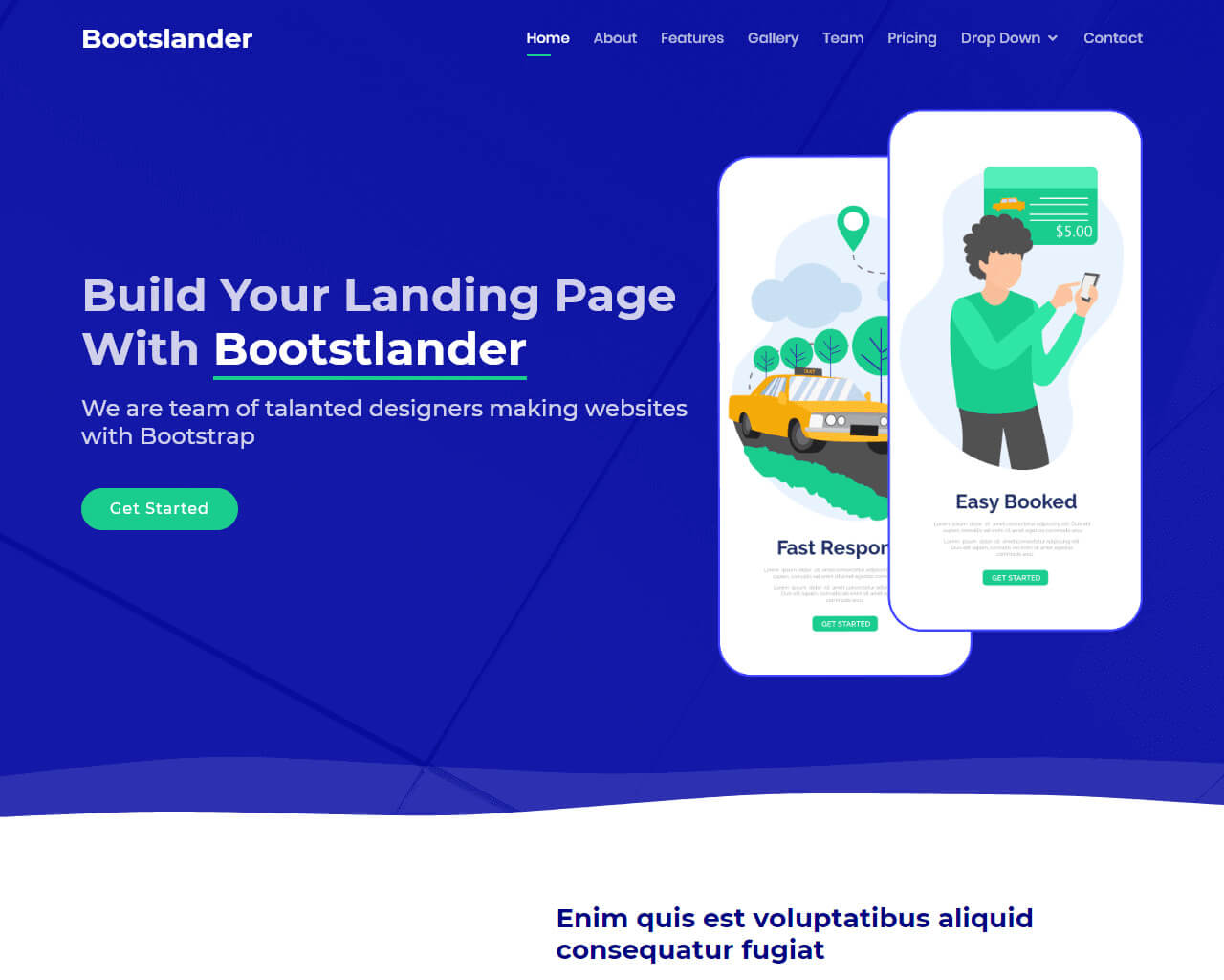Bootslander - Bootstrap Landing Page Template