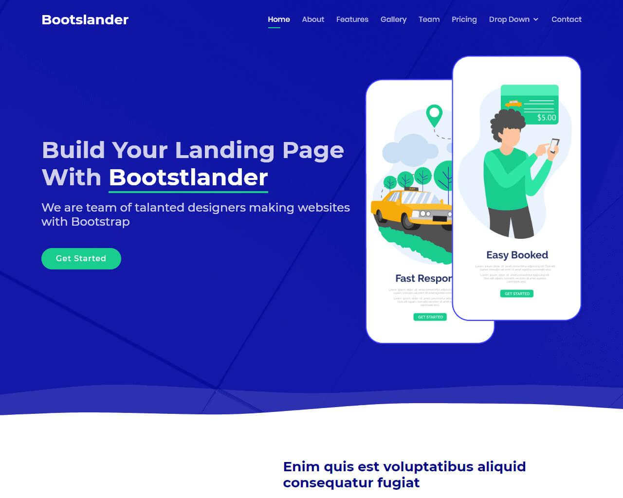 bootslander bootstrap landing page template bootstraptaste
