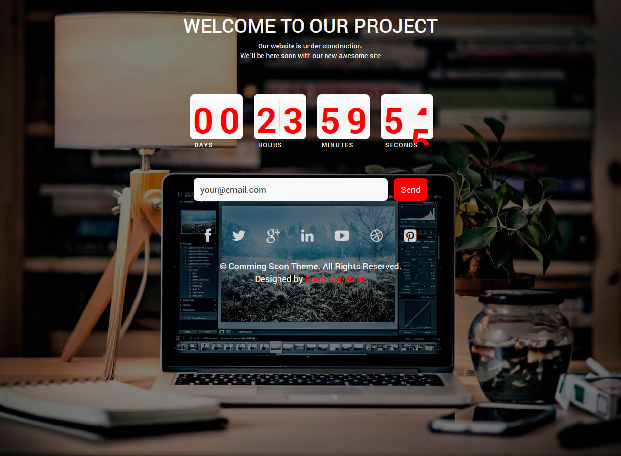 Free bootstrap coming soon template with countdown