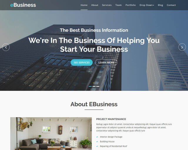 eBusiness - Free Bootstrap Business Theme
