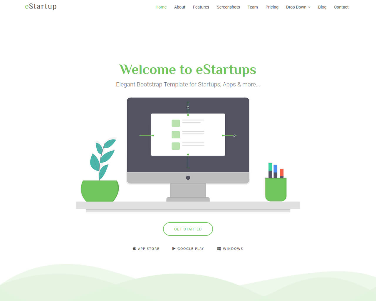 eStartup – Free Bootstrap Template for Startups, Apps and more