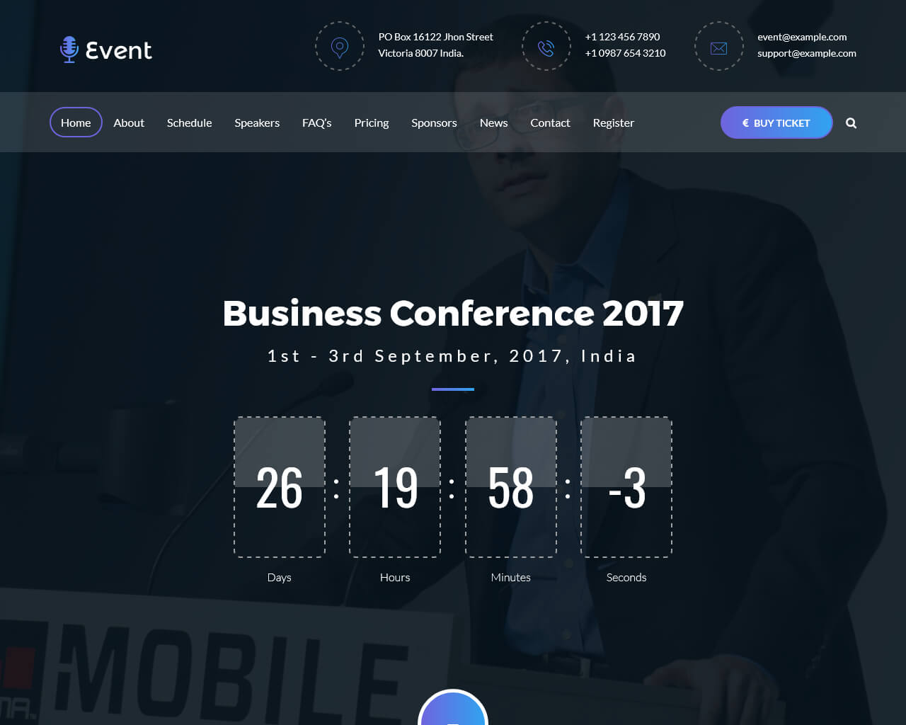 Live Event Website Template