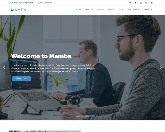 Mamba - One page Bootstrap template for free