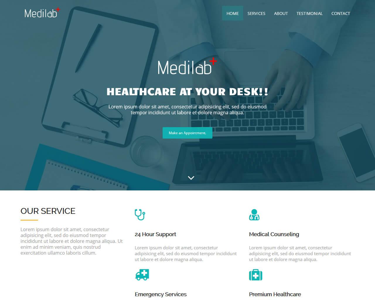 Medilab Free Medical Bootstrap Theme Bootstraptaste