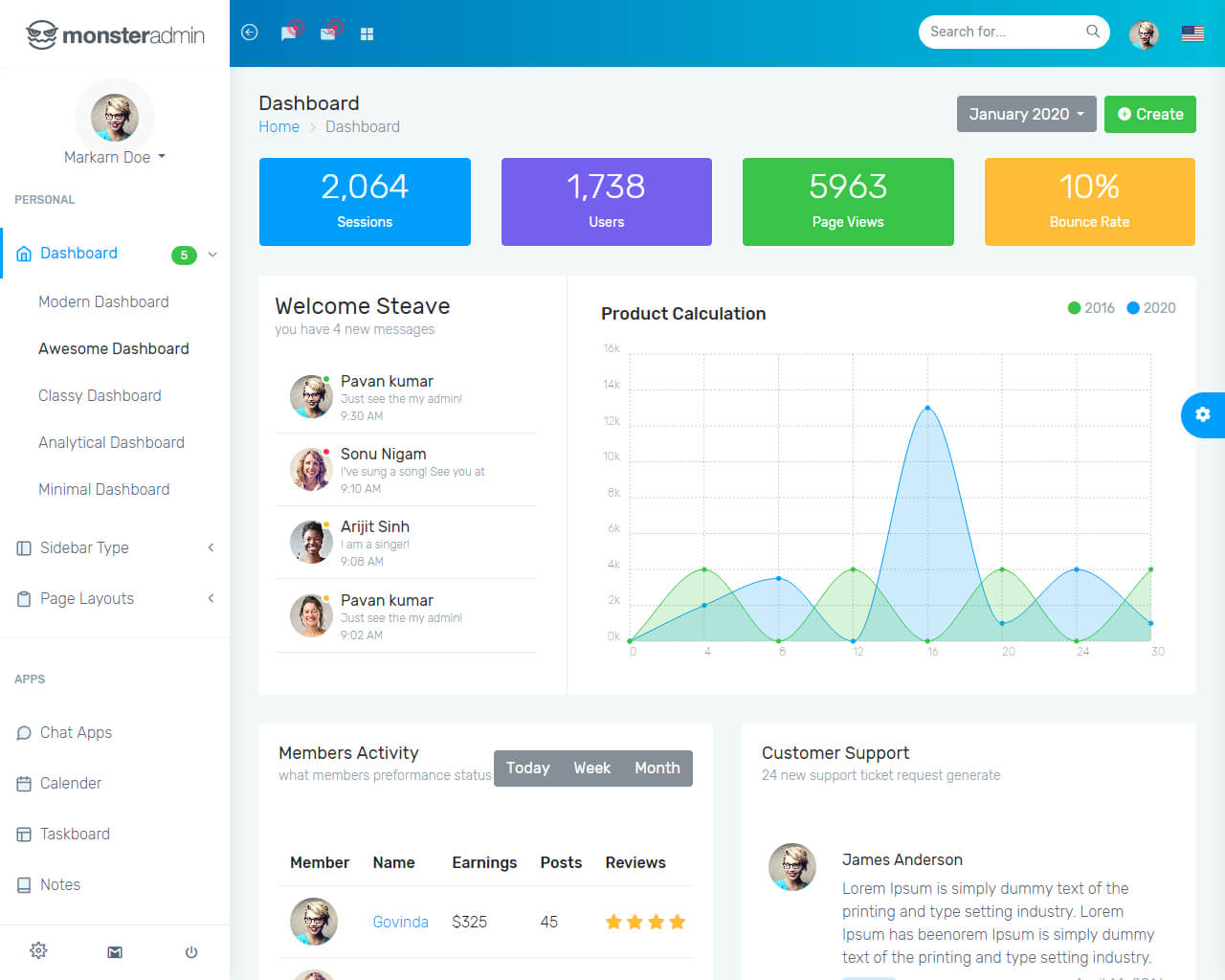 Monster - Bootstrap 4 Admin Template