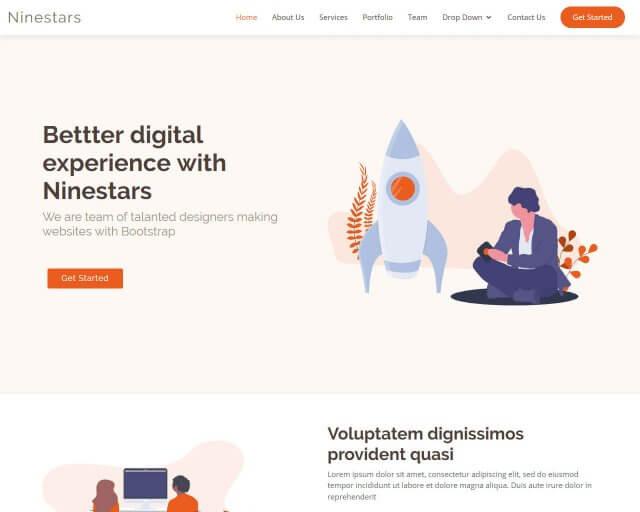 Ninestars - Free Bootstrap theme for creative