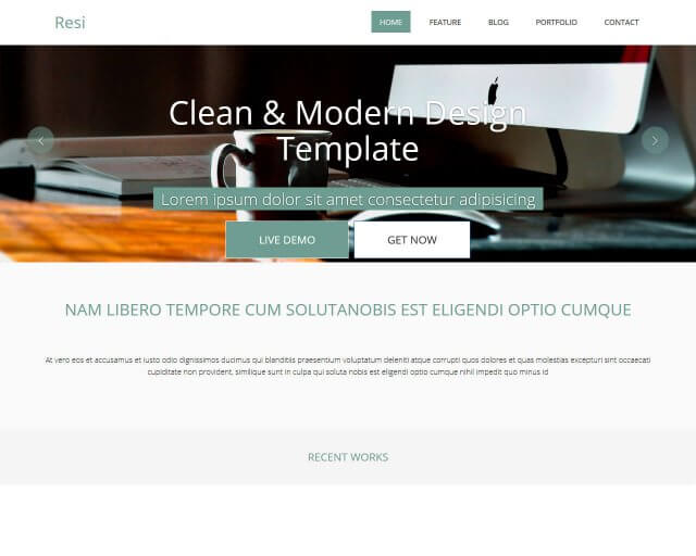 Resi - Free bootstrap HTML template