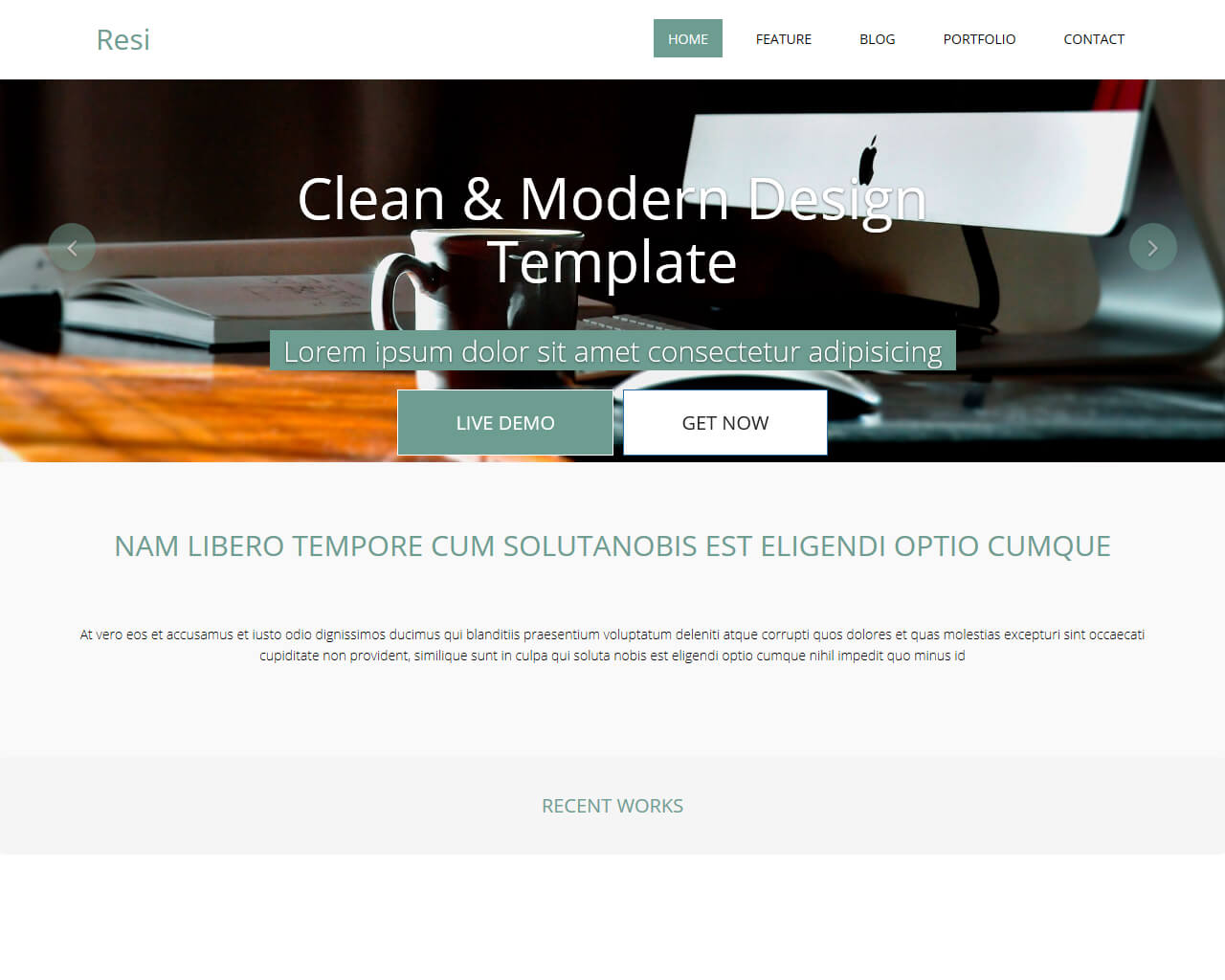 Resi Free Bootstrap Html Template Bootstraptaste