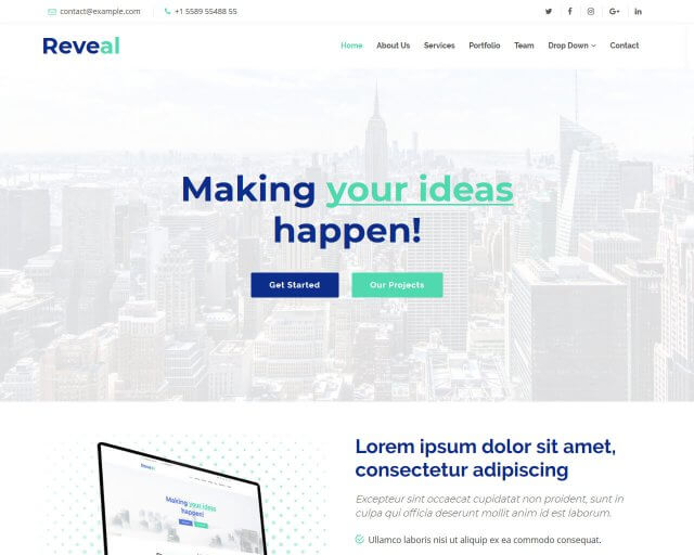 Reveal - Free Bootstrap Template