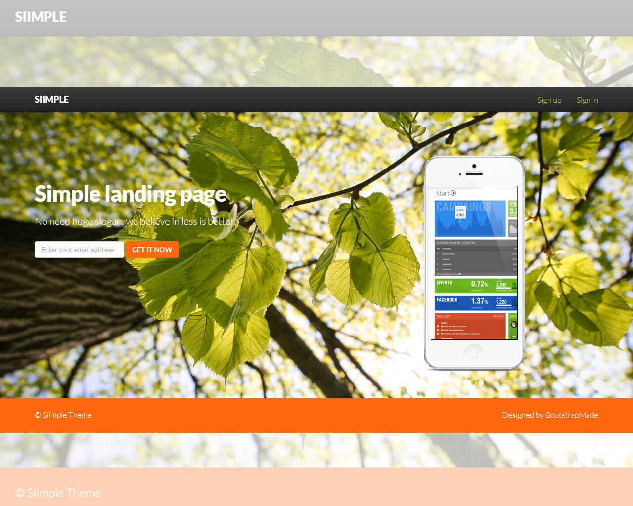 Siimple - Free bootstrap landing page template