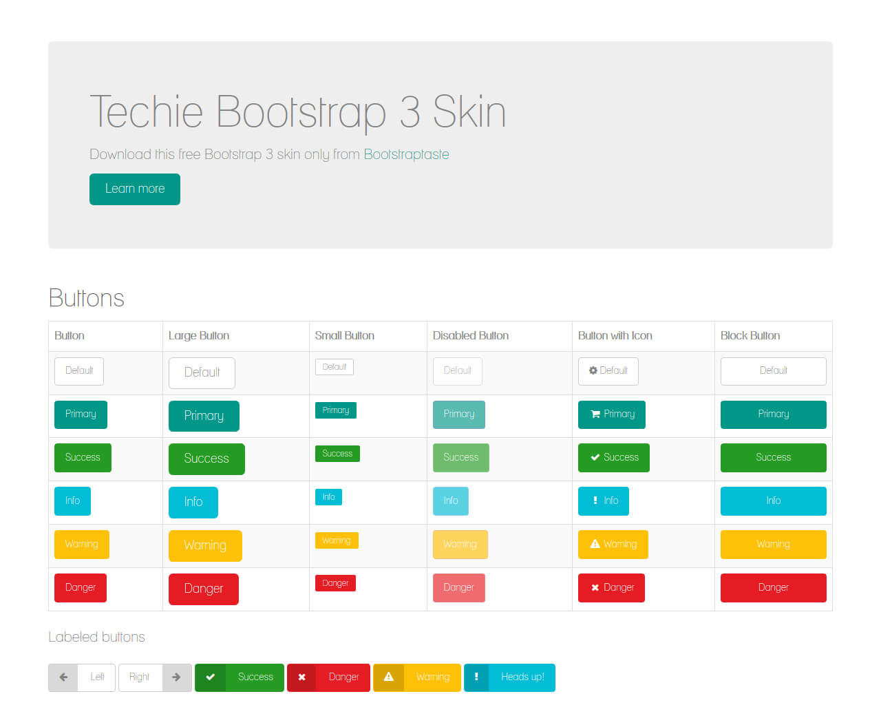 Techie - Free skin for Bootstrap 3