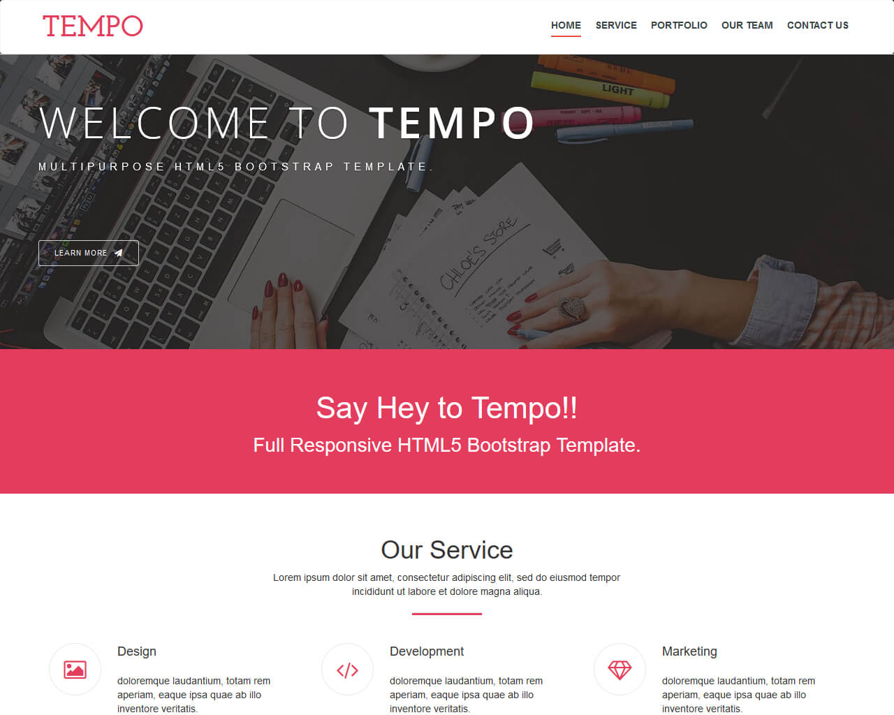 Tempo – Modern Free Onepage Bootstrap Theme